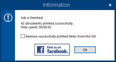 Завершение печати на виртуальном принтере