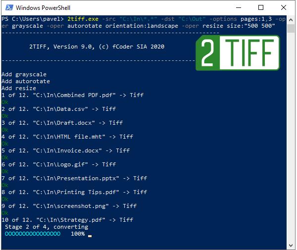 Конвертируйте PDF, DOCX, HTML, JPG, PNG в TIFF из командной строки с 2TIFF
